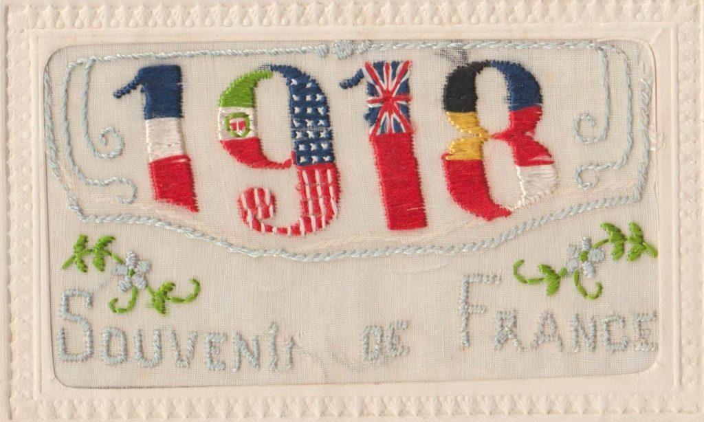Victoire 1918    carte alliÇe brodÇe